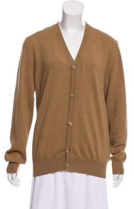 Maison Margiela Leather-Accented Wool Cardigan