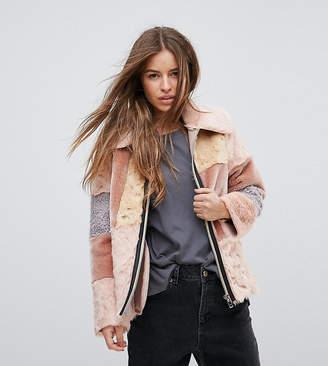 Asos Jacket in Patchwork Faux Fur