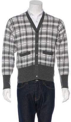 Brooks Brothers Black Fleece Plaid Cashmere Cardigan