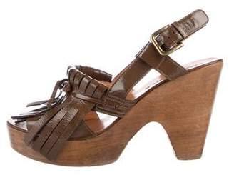 Gerard Darel Fringe-Accented Patent Sandals