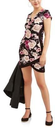 Almost Famous Juniors' Colorblock Wrap Front Dress