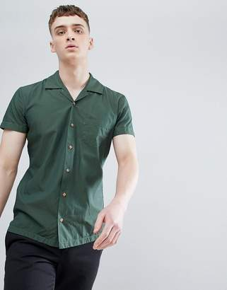 BOSS Revere Collar Shirt Sleeve Shirt In Khaki