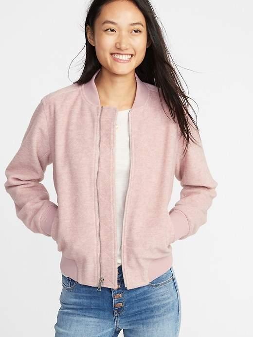 Textured Jacquard Zip Bomber Jacket for Women