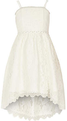 River Island Girls white lace high low flower girl dress