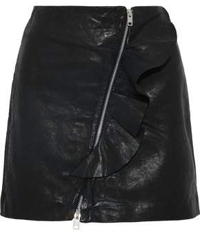 Walter W118 By Baker Venus Ruffle-Trimmed Leather Mini Skirt