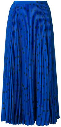 Valentino polka-dot pleated midi skirt