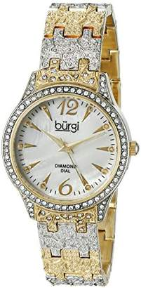 Burgi Women's BUR127TTG Diamond & Crystal Accented Mother-of-Pearl Dial Embossed Yellow Gold and Silver Bracelet Watch