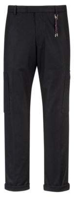 HUGO Boss Slim-fit pants in a felt-effect wool 34R Black