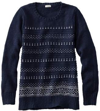 L.L. Bean L.L.Bean Women's Cotton Ragg Sweater, Marled Crewneck Pullover, Birdseye
