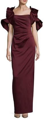 Badgley Mischka Women's Pleated Cluster Floor-Length Dress