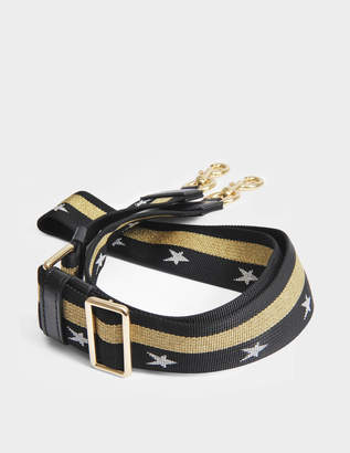 Marc Jacobs Stars and Stripes Chain Guitar Bag Strap in Black and Shiny Gold Nylon