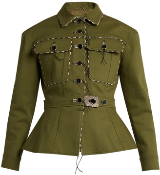 Feday cord-trim cotton-drill jacket