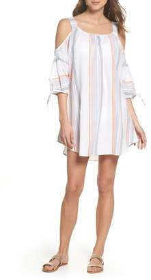 Echo Sunset Stripe Cold Shoulder Cover-Up Dress