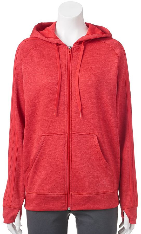 Women's adidas Striped Zip Up Fleece Hoodie