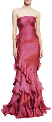 Zac Posen Strapless Ruffled Mermaid Gown, Raspberry $8,990 thestylecure.com