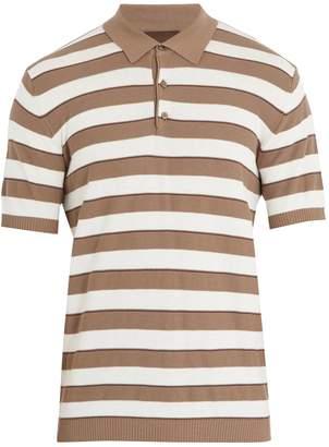 Altea Striped cotton-crepe polo shirt