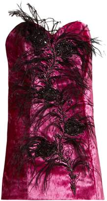 ATTICO Feather-trim velvet bustier dress