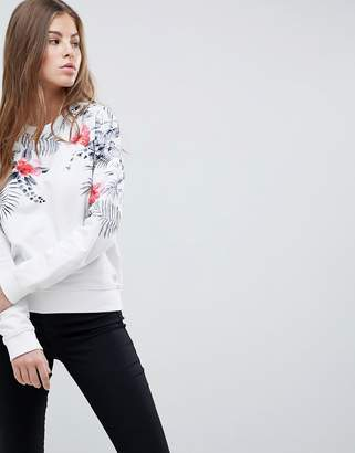 Replay Floral Print Crew Neck Sweatshirt