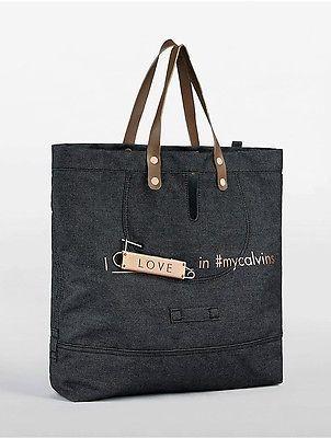 Calvin KleinCalvin Klein Womens Denim Love Tote Bag Dark Indigo