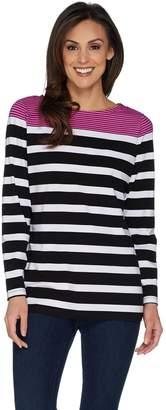 Denim & Co. Placed Stripe Boat Neck Long Sleeve Top