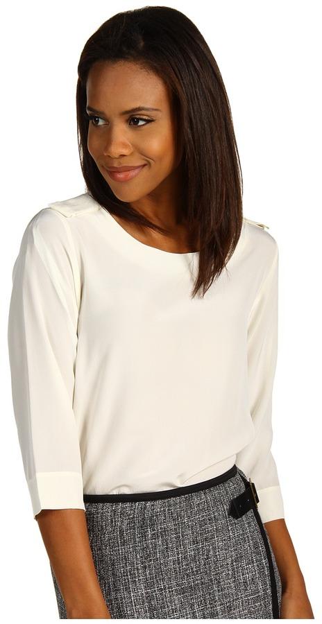 Lacoste 3/4 Sleeve Silk Crepe Top