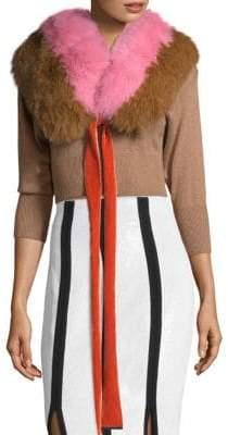 Diane von Furstenberg Colorblock Dyed Fox Fur Shawl