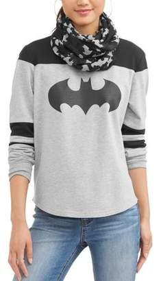 Junior's DC Comics Batman Logo Yoke Tee with Sleeve Stripes and Matching Scarf
