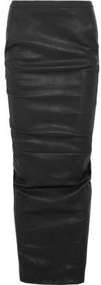 Rick Owens - Ruched Stretch-leather Maxi Skirt - Black $2,835 thestylecure.com