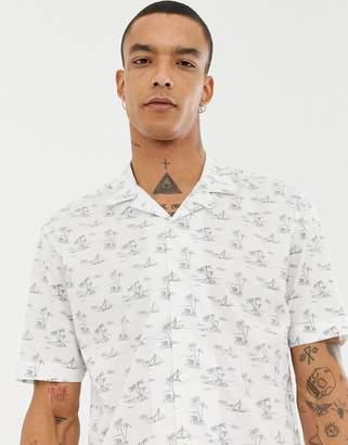 Moss Bros extra slim revere collar shirt in white print