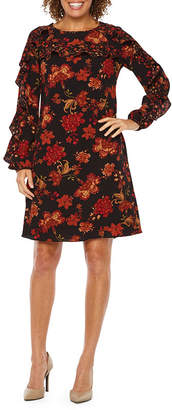 Ronni Nicole Long Sleeve Floral Shift Dress