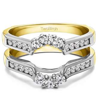 TwoBirch Royalty Inspired Half Halo Ring Guard Enhancer in Sterling Silver (0.54ctw)