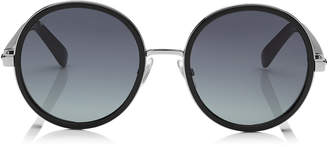Jimmy Choo ANDIE Black Acetate Round Framed Sunglasses with Silver Lurex Detailing