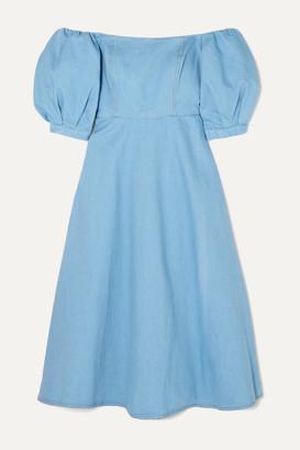 ARIAS - Off-the-shoulder Denim Midi Dress - Blue