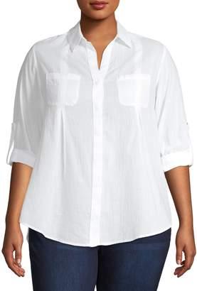 Lord & Taylor Plus Gauze Nancy Button-Down Shirt