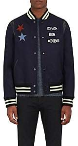 Valentino MEN'S VARSITY STAR-EMBROIDERED WOOL BOMBER JACKET-NAVY SIZE 54 EU