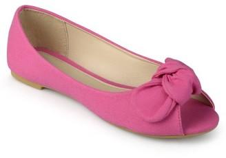 Brinley Co. Brinley Kids Little Girl Knot Bow Peep Toe Canvas Flats