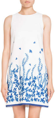 Andrew Gn Sleeveless Embroidered Shift Dress