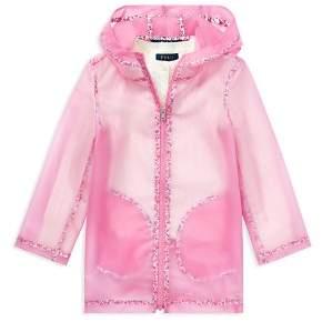 Ralph Lauren Girls' Sparkly Sheer Raincoat - Little Kid