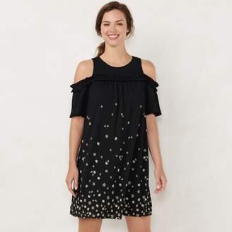 ddd40158783860 Lauren Conrad Petite Ruffle Cold-Shoulder Dress