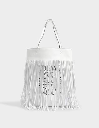 Loewe Vertical Tote Fringe Bag in Soft White Nappa Leather