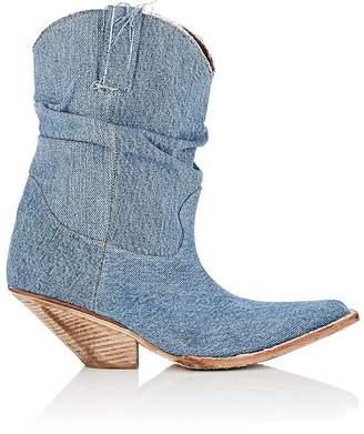 R 13 Women's Slouchy Denim Cowboy Boots