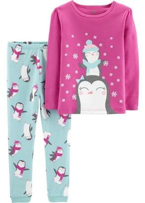 Original Penguin Child of Mine by Carter's Christmas Long Sleeve Cotton Tight Fit Pajamas, 2-piece Set (Baby Girls & Toddler Girls)