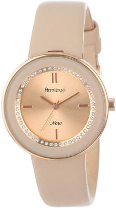 Swarovski Armitron Women's 75/5124RSRGBH Rose Gold-Tone Watch with Crystals and Leather Strap