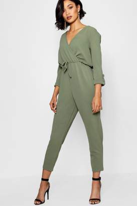 boohoo Military Wrap Front Cargo Style Jumpsuit