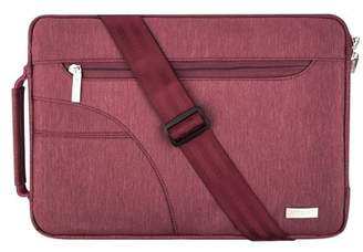 Mosiso Polyester Fabric Sleeve Case Cover Laptop Shoulder Briefcase Bag for 13-13.3 Inch MacBook Pro, MacBook Air, Ultrabook Netbook Tablet, Wine Red