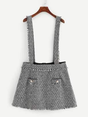 Shein Plus Braces Tweed Pinafore Mini Skirt
