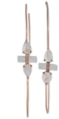 Jacquie Aiche 14K Rose Gold Aquamarine & Moonstone Hoop Earrings with Diamonds