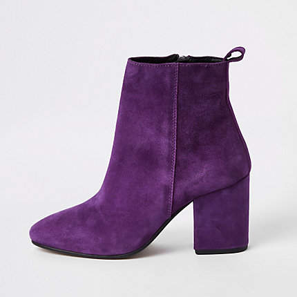 Womens Purple suede block heel boots