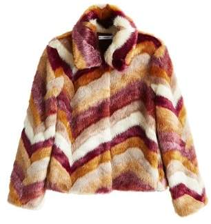 MANGO Multicolor faux fur coat