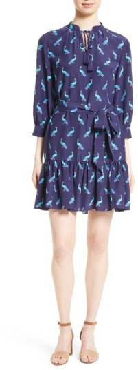 Women's Kate Spade New York Peacock Silk Flounce Hem Dress